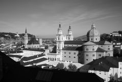 Cathedral of salzburg - old town, black and white Stock Images