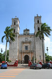 Cathedral of San Gervasio, Valladolid (Mexico). Cathedral of San Gervasio (San Bernardino) looking east along Calle 41, Valladolid, Yucatán, Mexico Stock Photos