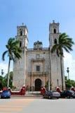 Cathedral of San Gervasio, Valladolid (Mexico). Cathedral of San Gervasio (San Bernardino) looking east along Calle 41, Valladolid, Yucatán, Mexico Stock Photo