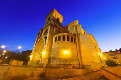 Cathedral  of San Juan de Albacete in early morning time. Wide angle shot of Cathedral  of San Juan de Albacete in early morning time Stock Photography
