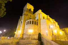 Cathedral of San Juan de Albacete  in night Royalty Free Stock Images
