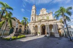 Cathedral in San Salvador de Jujuy, Argentina. Cathedral in San Salvador de Jujuy, in the colourful valley of Quebrada de Humahuaca in Jujuy Province, northern stock photo
