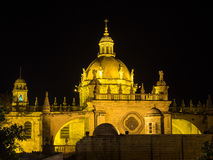 Cathedral San Salvador of Jerez de la Frontera at night stock photo