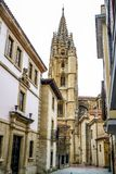 The Cathedral of San Salvador. In Oviedo Spain has several architectural styles including Romanesque, Gothic and Renaissance, groundbreaking was in 781 AD with Stock Images