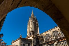 The Cathedral of San Salvador. In Oviedo Spain has several architectural styles including Romanesque, Gothic and Renaissance, groundbreaking was in 781 AD with Stock Photos