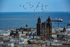 Cathedral of Santa Ana (Holy Cathedral-Basilica of the Canaries) in Las Palmas seen from a hill royalty free stock images