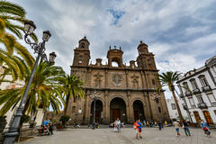 Cathedral of Santa Ana (Holy Cathedral-Basilica of the Canaries) in Las Palmas, view from the main square of Vegueta royalty free stock photography