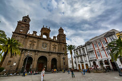 Cathedral of Santa Ana (Holy Cathedral-Basilica of the Canaries) in Las Palmas, view from the main square of Vegueta stock photos