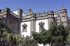 Las Palmas de Gran Canaria old town - Southeast corner of Santa Ana Cathedral, Canary Islands, Spain. The Cathedral of Santa Ana  is situated within the Vegueta stock image