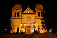 Cathedral in Santa Fe, New Mexico at night. The catholic XIX-century Cathedral Basilica of Saint Francis of Assisi in Santa Fe, New Mexico at night stock images