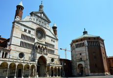 Cathedral of Santa Maria Assunta with the bell tower Torrazzo and the baptistery in Cremona, Italy Royalty Free Stock Photos