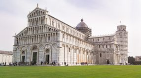 Cathedral of Santa Maria Assunta and Pisa tower. Big square with cathedral and leaning tower in Tuscany Stock Image