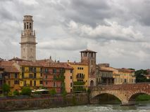 Cathedral of Santa Maria Assunta and Ponte Pietra in Verona, Italy Royalty Free Stock Images