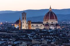 Cathedral Santa Maria dei Fiore at night, Florence Royalty Free Stock Photo