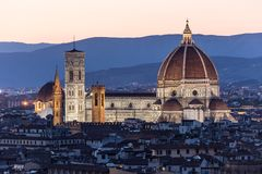 Cathedral Santa Maria dei Fiore at night, Florence Stock Photography