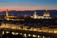 Cathedral Santa Maria dei Fiore at night, Florence Stock Photos