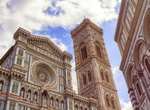 Cathedral Santa Maria del Fiore, Duomo, in Florence, Tuscany, Italy. Giotto`s bell tower and Cathedral Santa Maria del Fiore, Duomo, by day in Florence, Tuscany royalty free stock photography