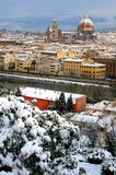 Cathedral Santa Maria del Fiore Duomo and giottos bell tower campanile, in winter with snow Florence, Tuscany Royalty Free Stock Photos
