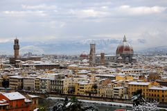 Cathedral Santa Maria del Fiore Duomo and giottos bell tower campanile, in winter with snow Florence, Tuscany Stock Photo