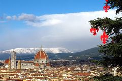 Cathedral Santa Maria del Fiore Duomo and giottos bell tower campanile, in winter with snow Florence, Tuscany Stock Photos