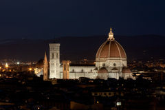 Cathedral Santa Maria del Fiore in Florence, Italy by evening. Night view of cathedral Santa Maria in Firenze royalty free stock photos