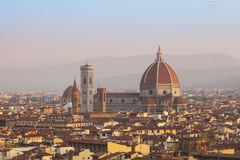 Cathedral Santa Maria del Fiore in Florence at sunrise Stock Images