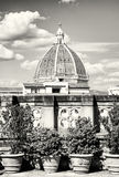 Cathedral Santa Maria del Fiore in Florence, Tuscany, Italy, col. Cathedral Santa Maria del Fiore in Florence, Tuscany, Italy. Cultural heritage. Black and white Stock Photo