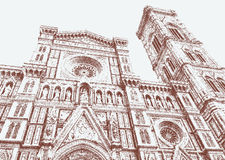 Cathedral of Santa Maria del Fiore and Giotto bell tower Royalty Free Stock Photo