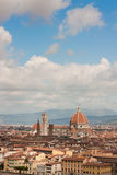 Cathedral Santa Maria Del Fiore with Giotto's Campanile with fre. Rooftop view of Basilica di Santa Maria del Fiore in Florence,Italy stock photos