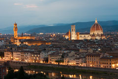 Cathedral Santa Maria del Fiore, Palazzo Vecchio and Arno River. Night view of cathedral Santa Maria in Firenze Stock Image