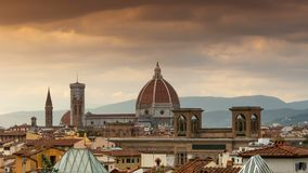 Cathedral of Santa Maria del Fiore at Sunset. Florence, Italy. stock video