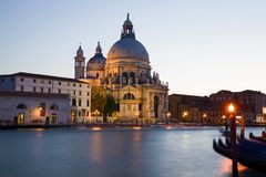 Cathedral of Santa Maria della Salute on the Grand Canal in September twilight. Venice, Italy Stock Image