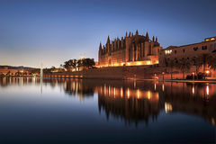Cathedral of Santa Maria of Palma de Mallorca Spain. Cathedral of Santa Maria of Palma de Mallorca, La Seu, Spain in sunset, blue hour Stock Photos
