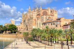 Cathedral of Santa Maria of Palma La Seu, Palma de Mallorca, Spain stock images