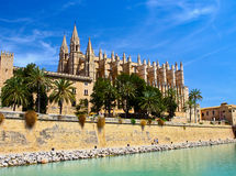The Cathedral of Santa Maria of Palma and Parc del Mar Royalty Free Stock Image