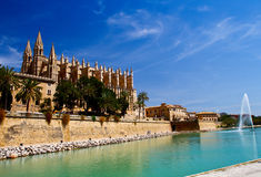The Cathedral of Santa Maria of Palma and Parc del Mar  Majorca, Royalty Free Stock Images