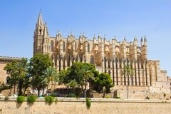 The Cathedral of Santa Maria of Palma and Parc del Mar, Majorca Royalty Free Stock Images