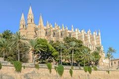 Cathedral of Santa Maria of Palma and Parc del Mar Royalty Free Stock Image