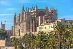 Cathedral of Santa Maria of Palma and Parc del Mar Royalty Free Stock Photos
