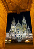 Cathedral of Santiago de Compostela. At night Stock Photography