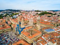 Santiago de Compostela in Galicia, Spain. The Cathedral of Santiago de Compostela aerial panoramic view in Galicia, Spain stock images