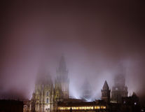 Cathedral in Santiago de Compostella at night Royalty Free Stock Images