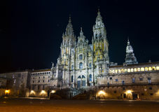 Cathedral of Santiago at night. Obradoiro Square is one of the most important religious sites in the world. Here is the Cathedral of Santiago, a pilgrimage site Stock Images