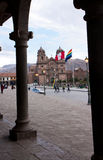 Cathedral of Santo Domingo, Cusco, Peru. The Cathedral of Santo Domingo, Cusco, Peru, from across the Plaza de Armas Royalty Free Stock Photos