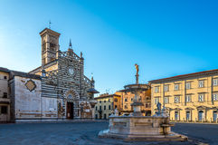 Cathedral Santo Stefano with fountain Stock Photography