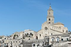 Cathedral in Sassi of Matera Stock Images