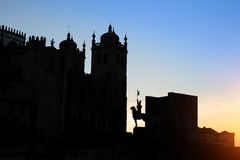 Cathedral Se do Porto silhouette at dusk. Portugal Royalty Free Stock Image