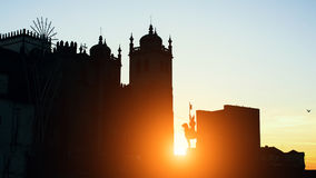 Cathedral Se do Porto silhouette during sunset, Porto. Cathedral Se do Porto silhouette during sunset, Porto, Portugal Stock Photography