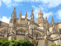 Cathedral of Segovia. Part of the Segovia's cathedral. Summer. Spanish landmark. It is located in the main square of the city, the Plaza Mayor Royalty Free Stock Photography