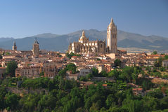 Cathedral of Segovia. Historical center of Segovia from the hill on the other side of the valley Royalty Free Stock Photo